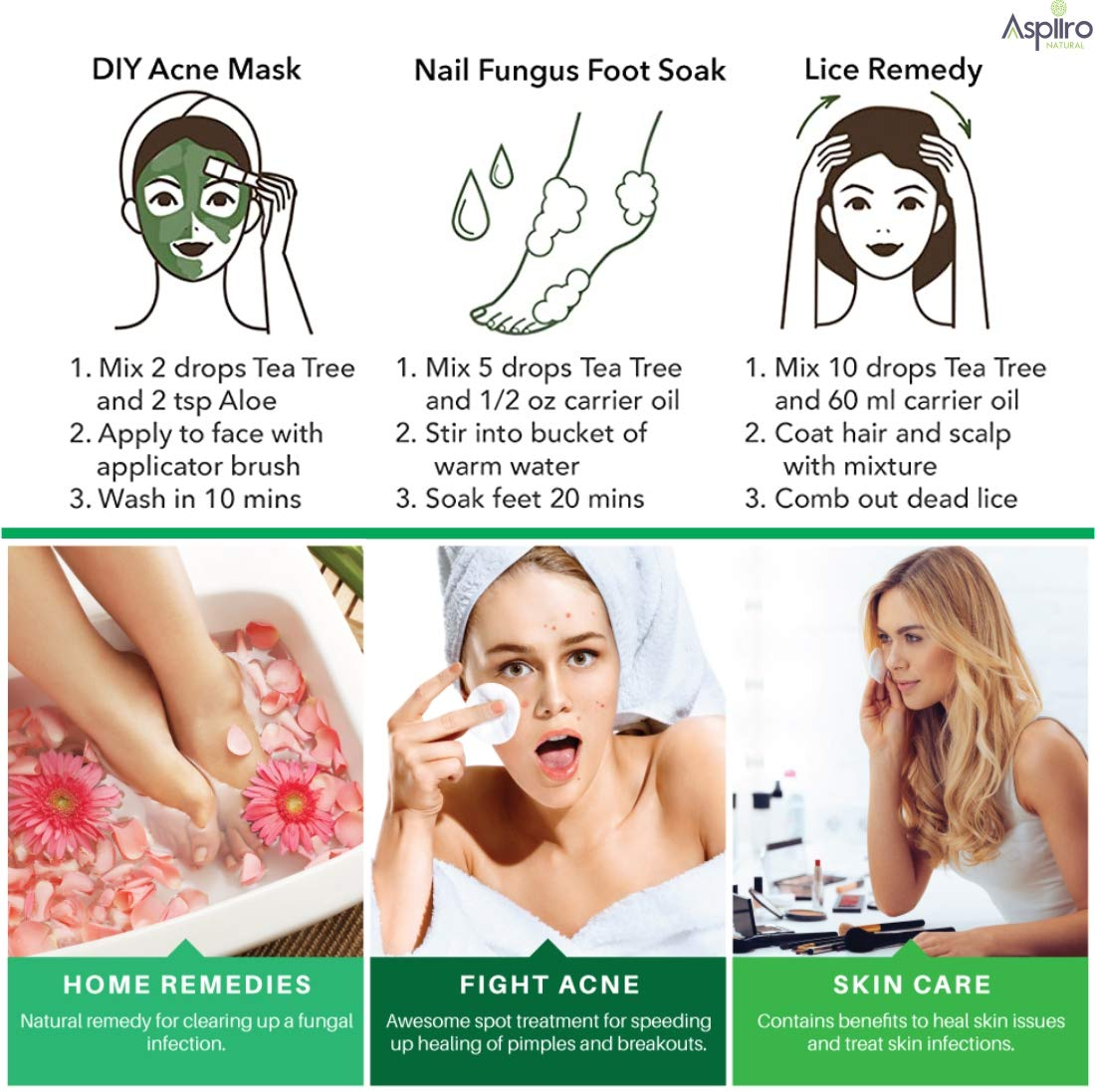 Buy Aspiiro Natural Tea Tree Oil For Skin Acne 15 Ml 100 Natural Pure Tea Tree Essential Oil For Skin Acne Pimple Face Hair Undiluted Natural Aromatherapy Therapeutic