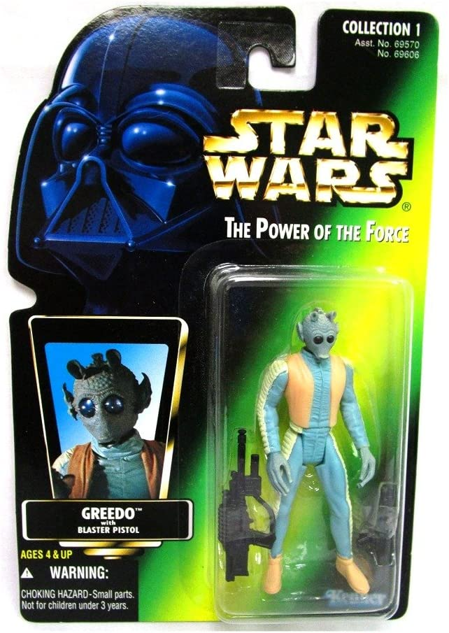 Star Wars Greedo Action Figure The Power of the Force Green Card 3.75 Inches Kenner-Hasbro 69570