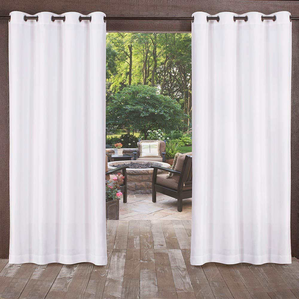 Exclusive Home Curtains Biscayne Indoor/Outdoor Two Tone Textured Window Curtain Panel Pair with Grommet Top, 54x108, Winter White, 2 Piece