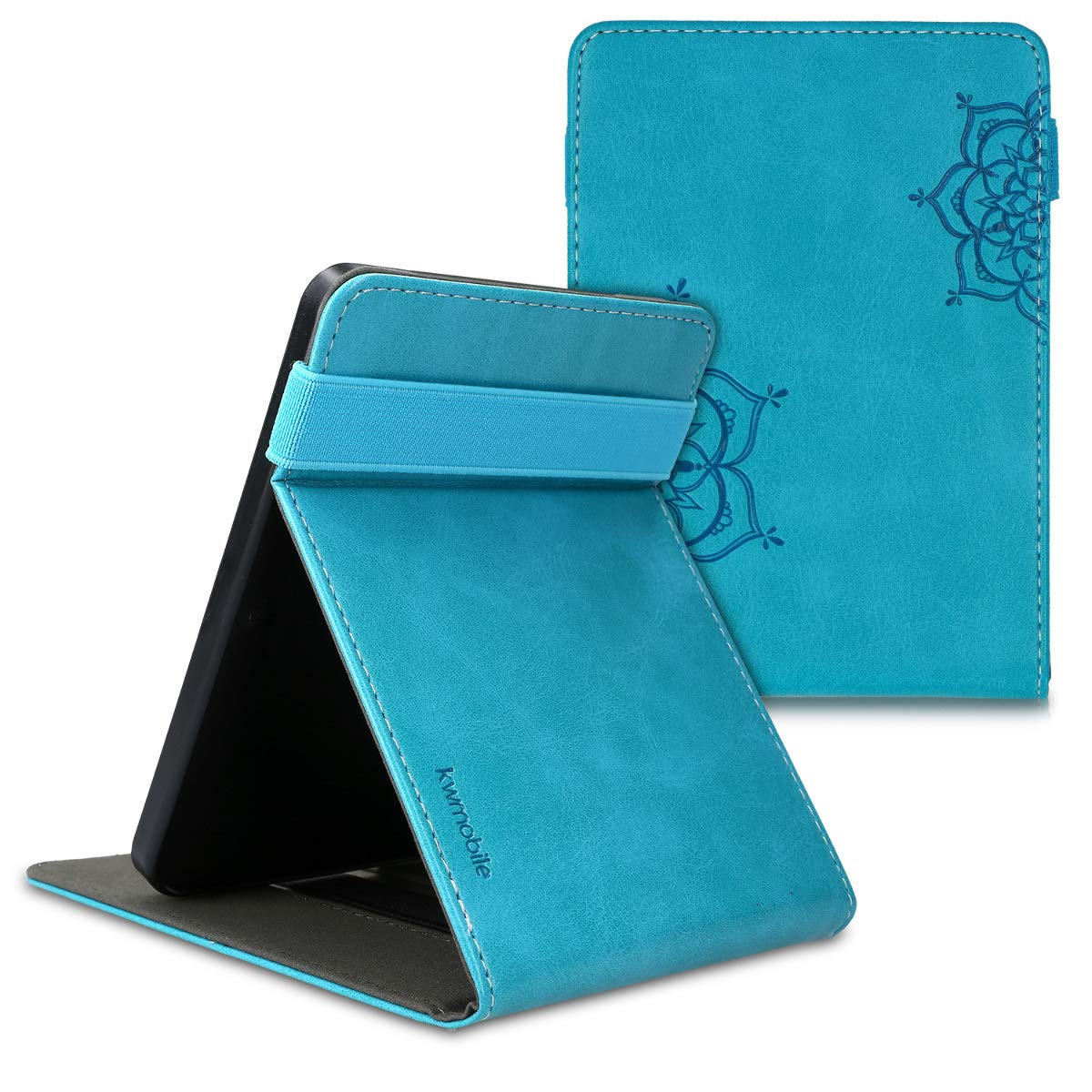 kwmobile Cover for Kobo Clara HD PU Leather e-Reader Case with Built-in Hand Strap and Stand Green//Blue//Beige