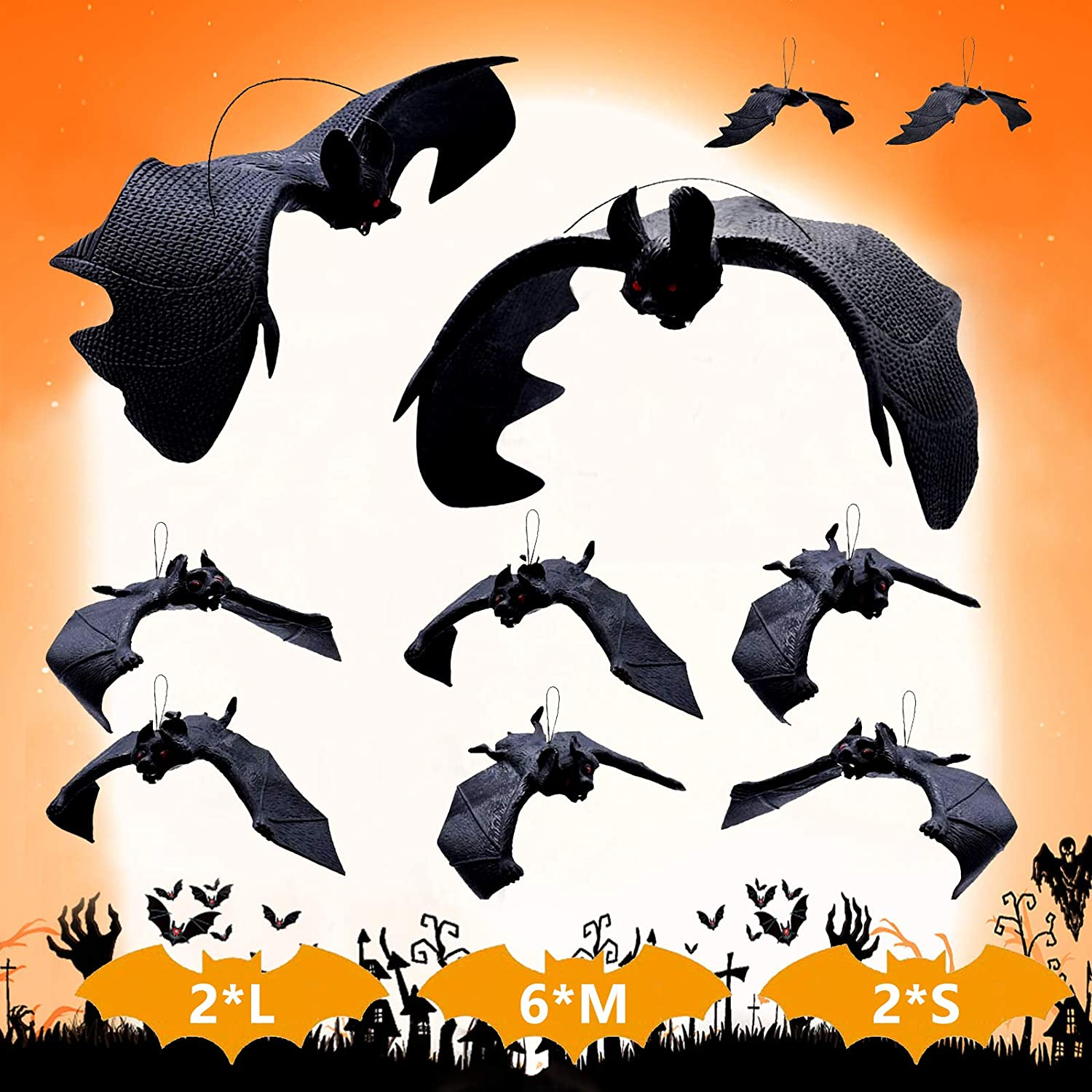 Supersfel Hanging Rubber Bats Decorations - 10pcs Large Fake Vampire Bat Decor Spooky Scary Bats Decoration for Kids Toy Gift Party Favor Decor Flying Bats Black