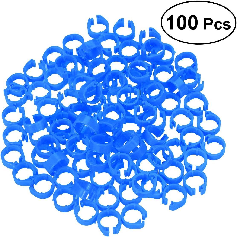 Ueetek - 100 clips de plástico en la pierna, anillos, tag, pie para palomas, pollos, bantam