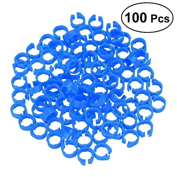 ueetek Ringe Bein für Vogel Papagei Enten Hühner Geflügel (blau) – 100 Stück