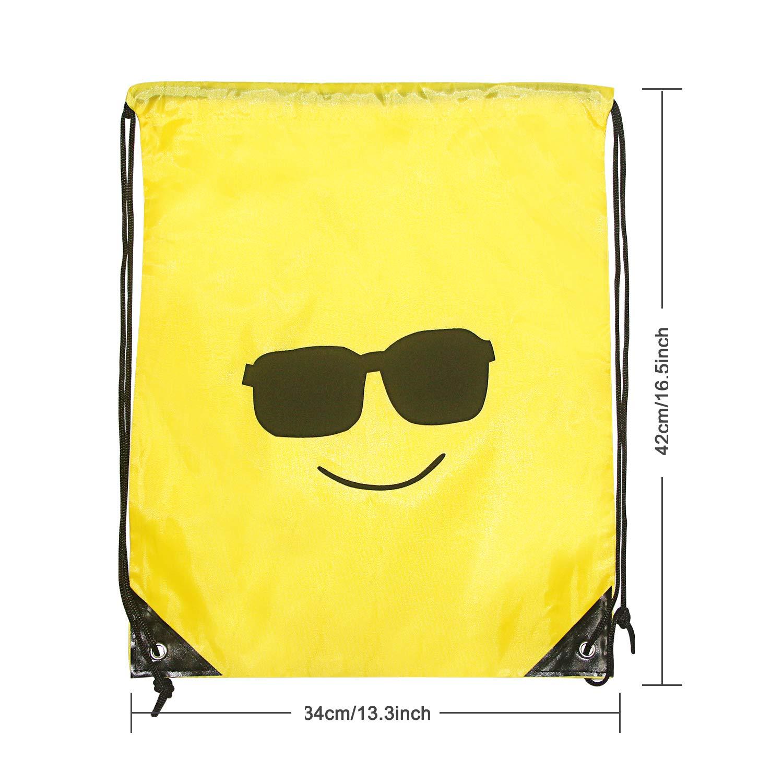FORMIZON 10 Pack Emoji Bolsas de Cuerdas Gimnasio Backpack para Ni/ños Ni/ñas Fiesta Encantador Emoji Cord/ón Dibujos Animados Mochila Bolsas