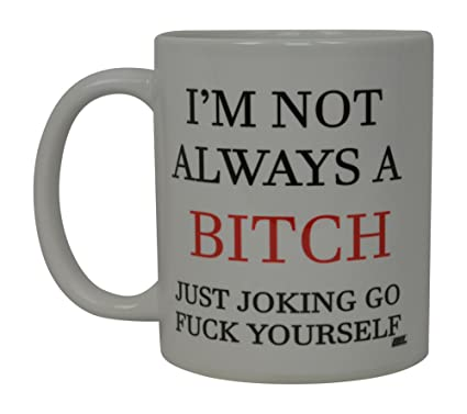 Best Funny Coffee Mug Not Always A Bitch Novelty Cup Joke Great Gag Gift  Idea For