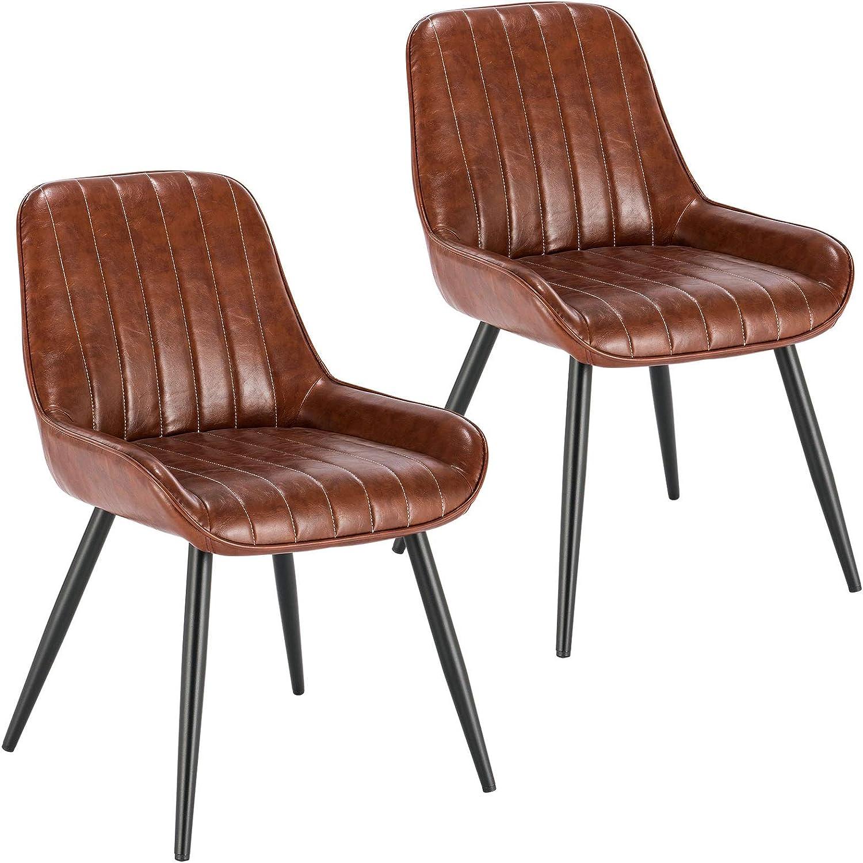 E-starain 2X Sillas de Comedor Dining Chairs Sillas Tapizadas Paquete de 2 Sillas Cocina Nórdicas Cuero Sintético Sillas Bar Metal Silla de Oficina Marrón