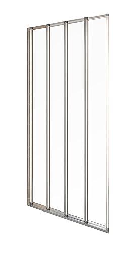 Aqualux 840mm 4-Fold Bath Screen - Polished Silver/Clear