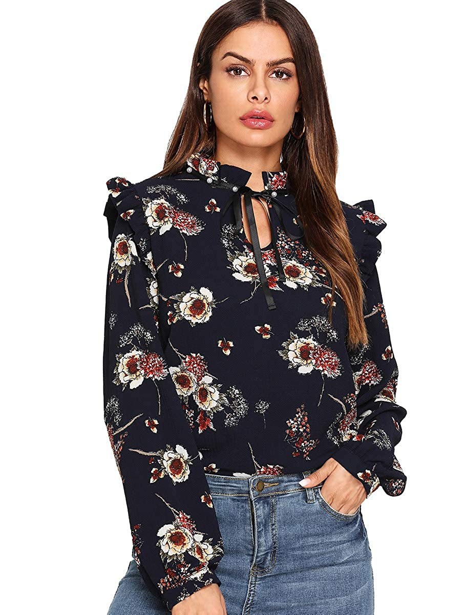 2feb31827009bd Romwe Women s Floral Print Long Sleeve Bow Tie Chiffon Work Blouse Top  Shirts at Amazon Women s Clothing store