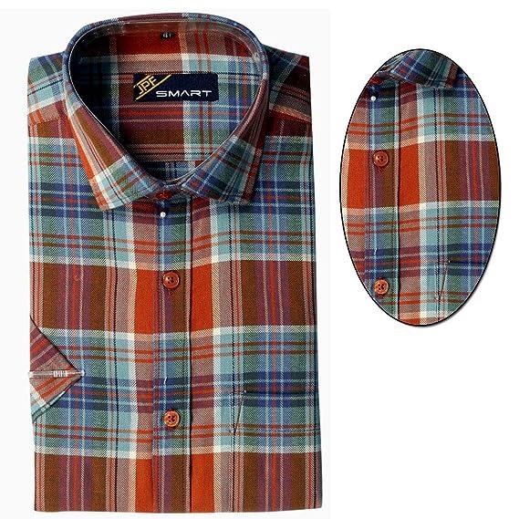 b7129c72b3 JPF Smart Men's Cotton Regular Fit Formal Shirt for Men - Casual Half  Sleeves Shirt for