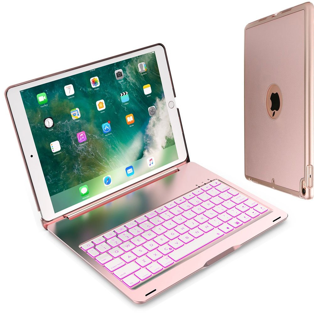 iPad Pro 10.5 Keyboard Case, Colisivan Ultra Hard Shell Protective Case Folio Stand 7 Colors Back-lit with Bluetooth Keyboard, for iPad Pro 10.5 inch 2017 Newest Released - A1701/A1709 (Rose Gold)