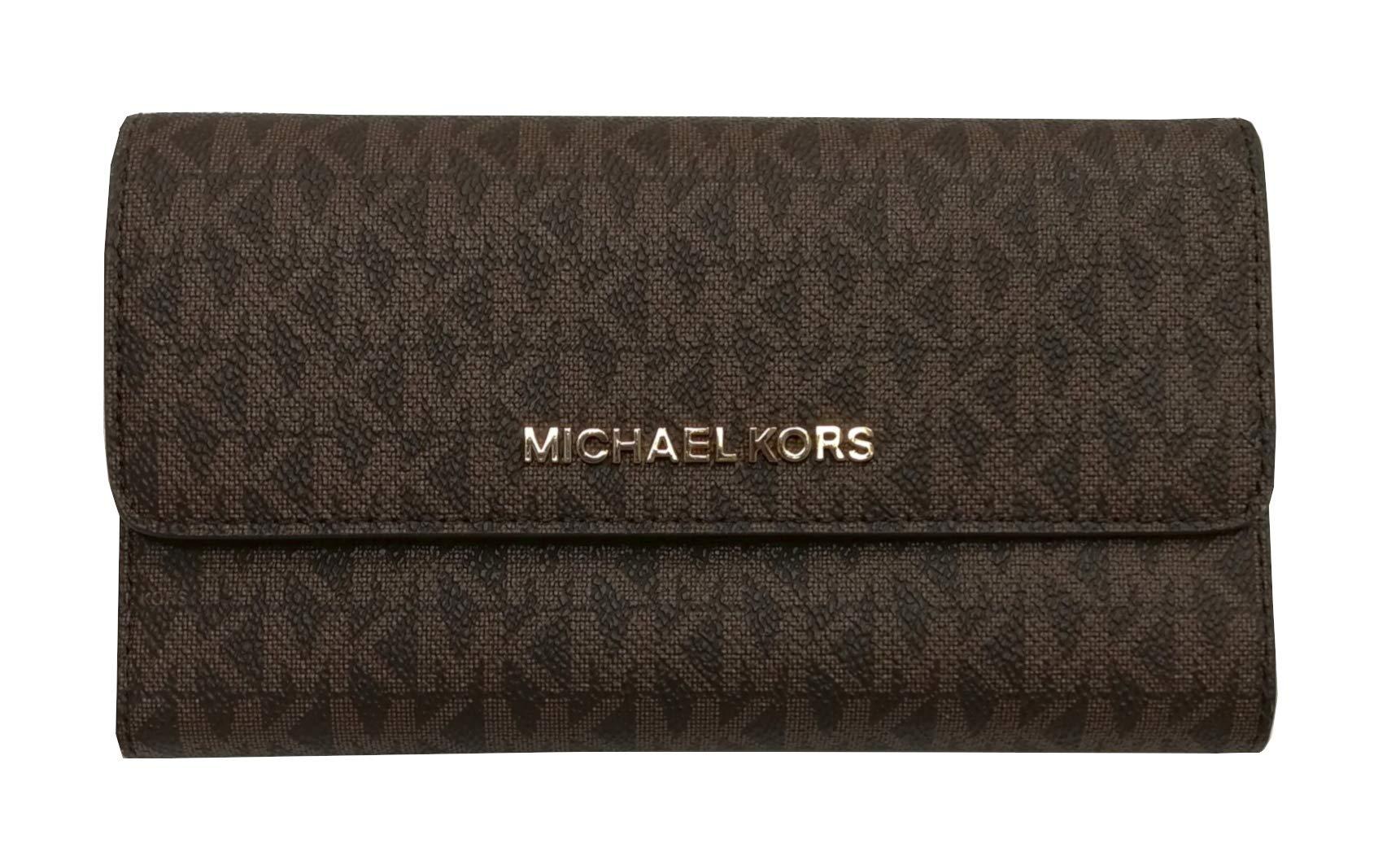 Michael Kors Jet Set Travel Large Trifold Small Signature PVC Wallet Brown Acorn