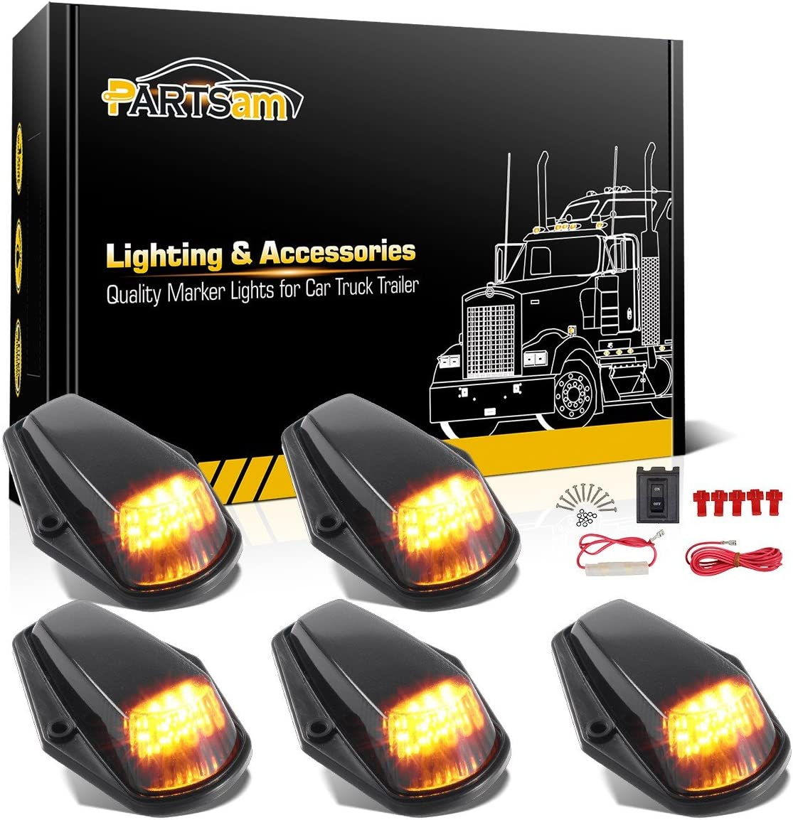 Amazon.com: Partsam 5PCS Cab Marker Light 12LED Amber Top Roof Running LED  Lights w/Wiring Harness Compatible with Ford F150 F250 F350 1973-1997 F  Series Super Duty Pickup Trucks: AutomotiveAmazon.com