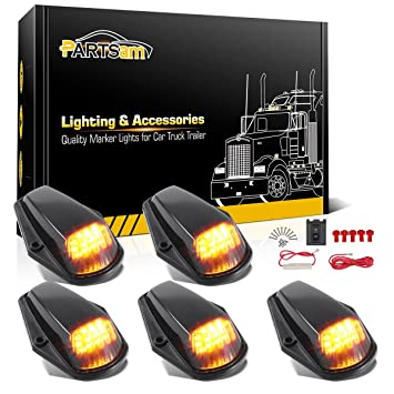 partsam 5pcs cab marker light 12led amber roof running top clearance lights  w/wiring harness
