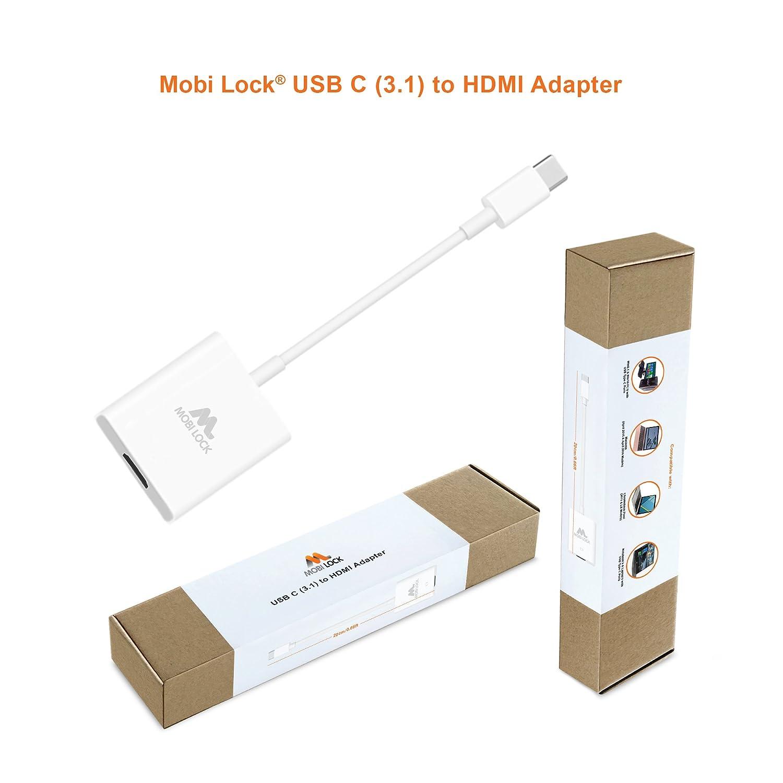 Mobi Lock Cable Adaptador de USB-C (3.1) a HDMI Compatible con ...