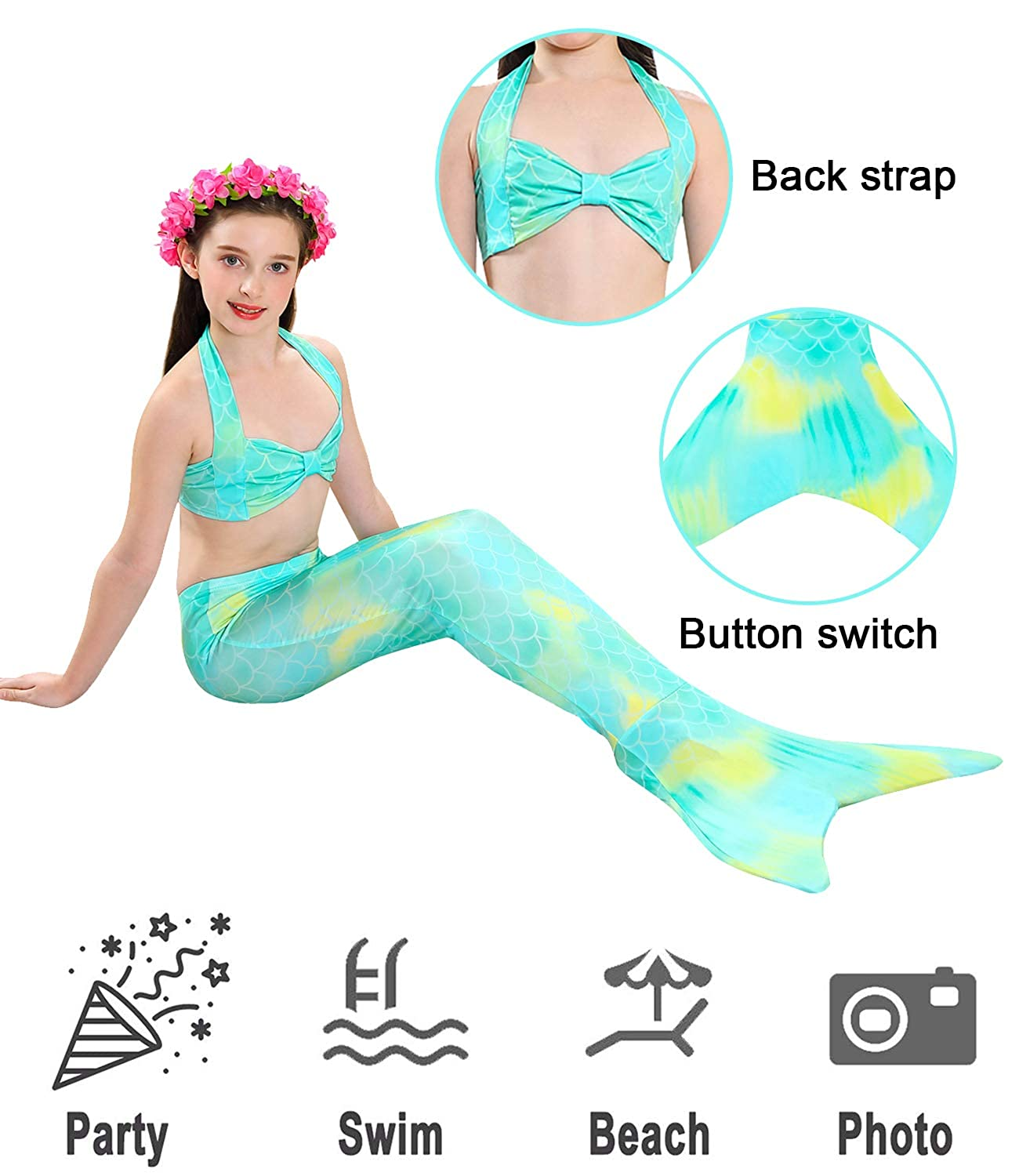 4 PCS Girls Swimsuit Mermaid for Swimming Kids Mermaid Set Bathing Suit Princess Costumes School Fashion