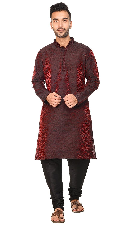 Special Section Indian Designer Traditional Party Wear Wedding Orange Men Silk Kurta Pajama Men's Clothing Other Men's Clothing