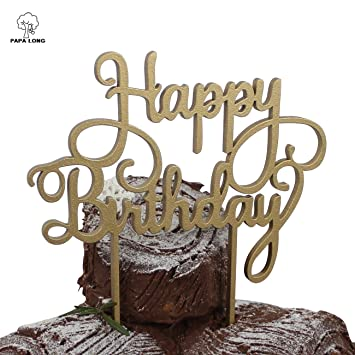 PAPA LONG Design Wood Happy Birthday Cake Topper For Baby