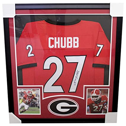 huge discount 5d0d0 be416 Nick Chubb Autographed Signed Framed Georgia Bulldogs Red ...
