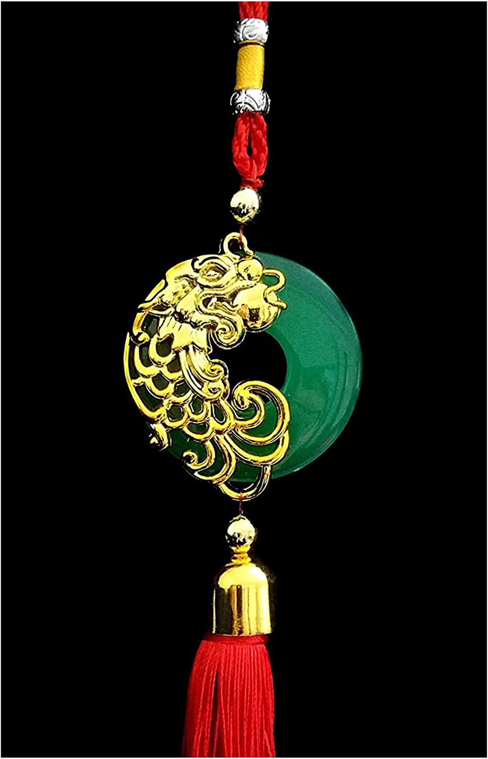 Betterdecor Handmade Feng Shui Chinese Dragon Car Wall Hanging Charm for Prosperity (with a Pouch)