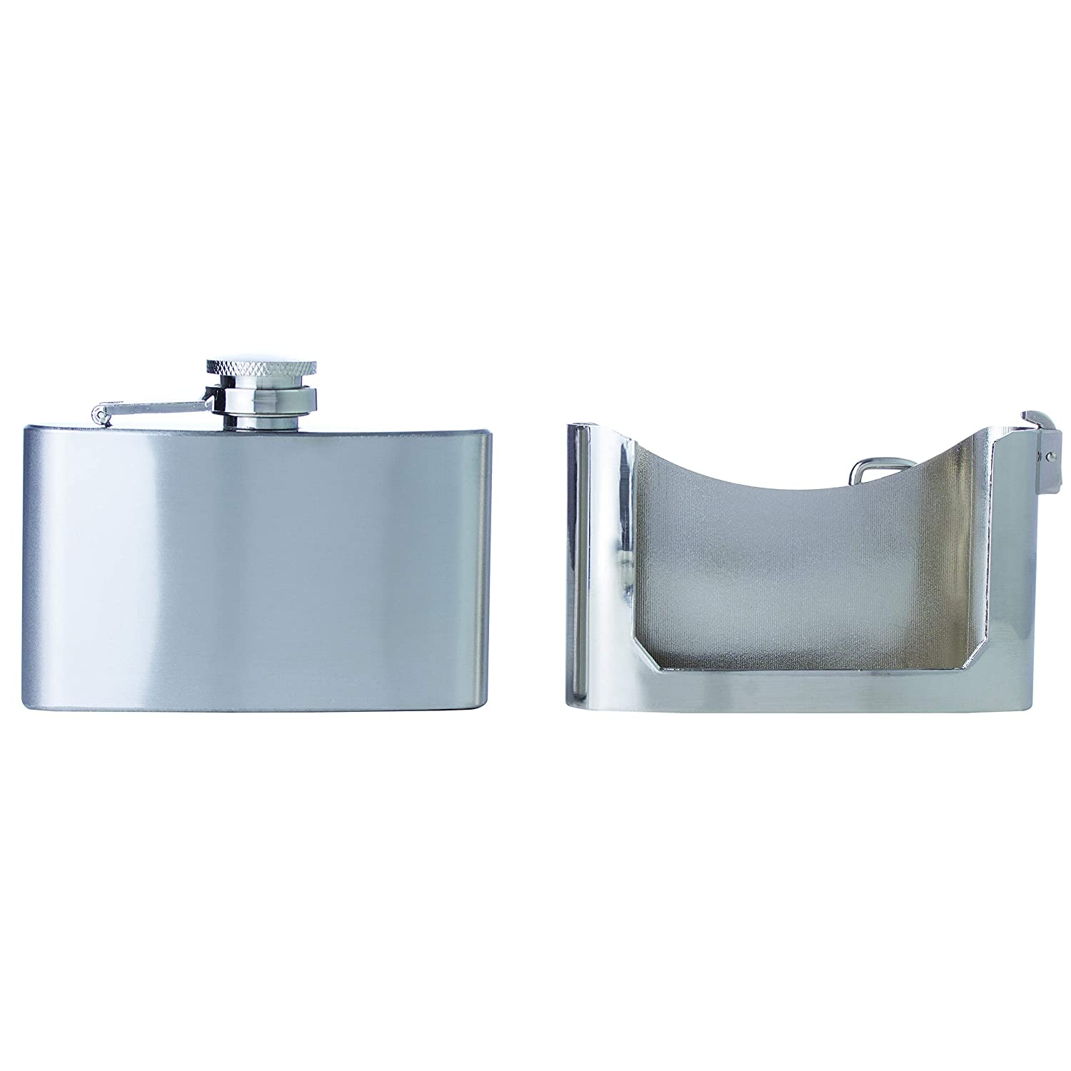 Lightweight Drinking Flask with a Screw-On Polished Silver Maxam 3oz Belt Buckle Stainless Steel Flask 3 Ounce Capacity Leak Proof Lid