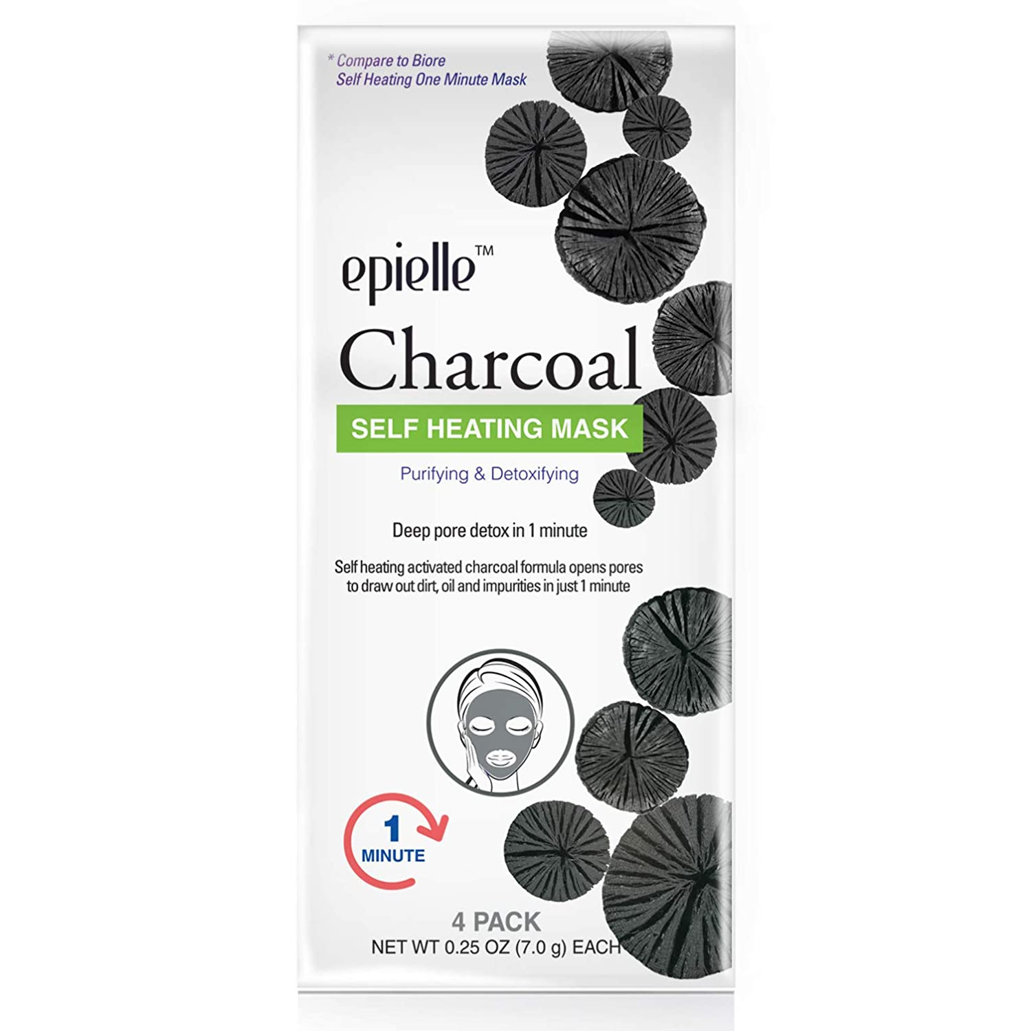 Epielle Charcoal Self Heating mask, 4ct (1 pack)
