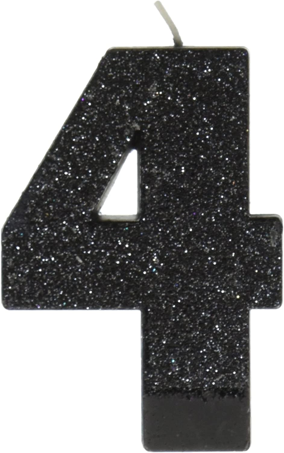 amscan Birthday Celebration, Numeral #4 Glitter Candle, Party Supplies, Black, 3 1/4