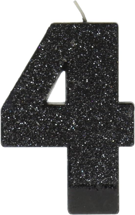 Amazon.com: Negro # 4 de cumpleaños con purpurina 3.25