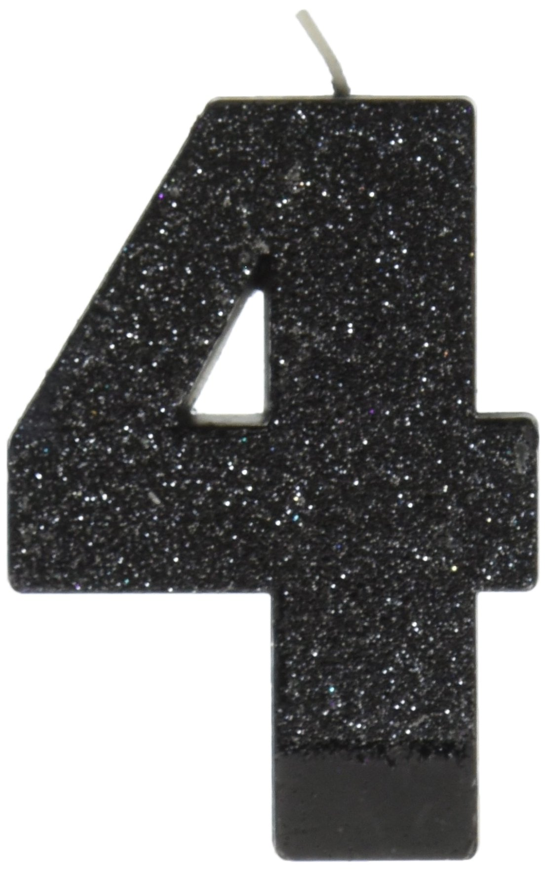 Amscan Birthday Celebration, Numeral #4 Glitter Candle, Party Supplies, Black, 3 1/4''