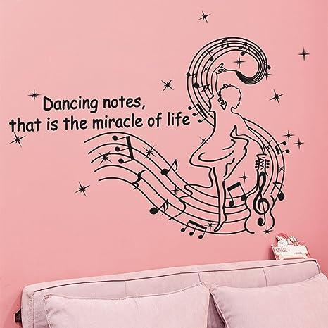Ingles Letras Dancing Notas Musicales Pared Adhesivo Pvc Murales