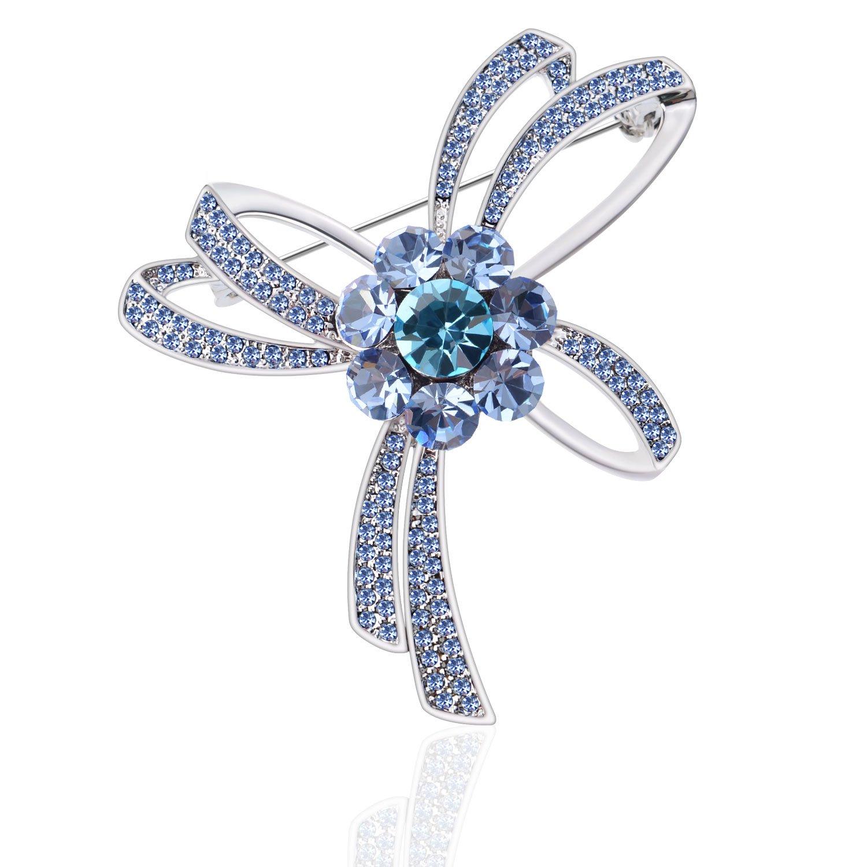 TAGOO Fashion Floral Flower Brooch Shawl Pin Clip Corsage in Crystal Rhinestone for Women and Teen Girls (Crystal Ribbon 2.36''x1.97'' Blue)