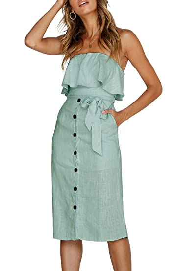 Image Unavailable. Image not available for. Color  ZESICA Women s Summer Off  The Shoulder Ruffle Button Down Tie Waist Casual Midi Dress with Pockets 2a00e4072