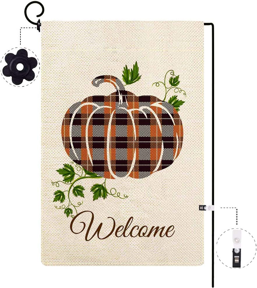 ORTIGIA Welcome Fall Garden Flag Buffalo Check Plaid Pumpkin Autumn Leaves Vintage House Yard Flag Burlap Double Sided 12.5 x 18 Inch Thanksgiving Harvest Seasonal for Outside Farm Home Decoration