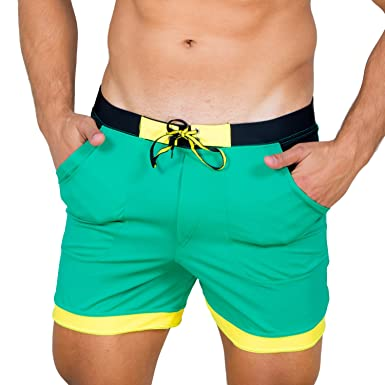 7efb1c18e6e8a Taddlee Men Swimwear Solid Basic Long Swim Boxer Trunks Board Shorts  Swimsuits, Green, Small