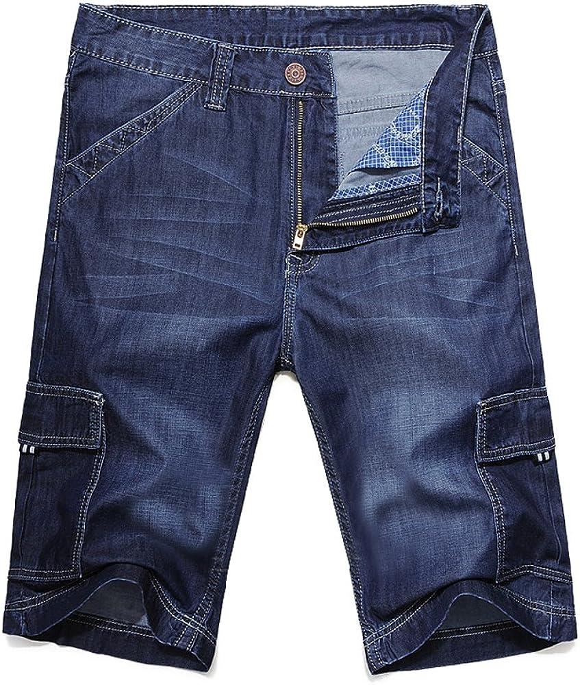 Mens Summer Wear Thin and Soft Cargo Pockets Denim Shorts
