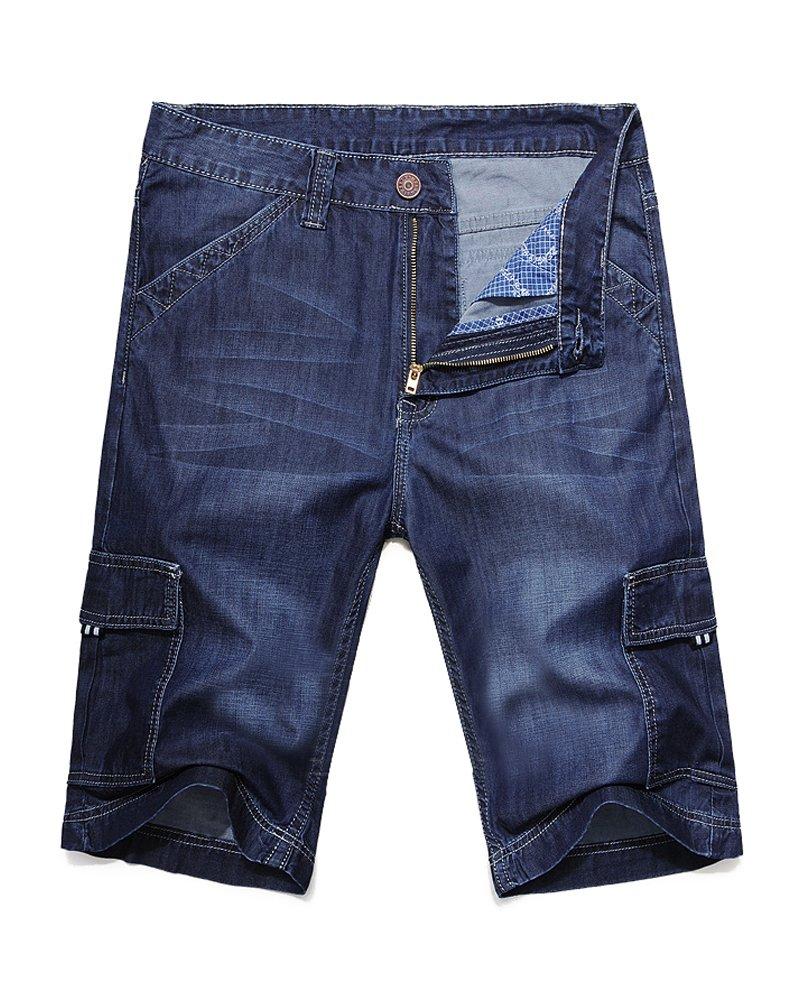 Men's Summer Wear Thin and Soft Cargo Pockets Denim Shorts Mid Blue 36