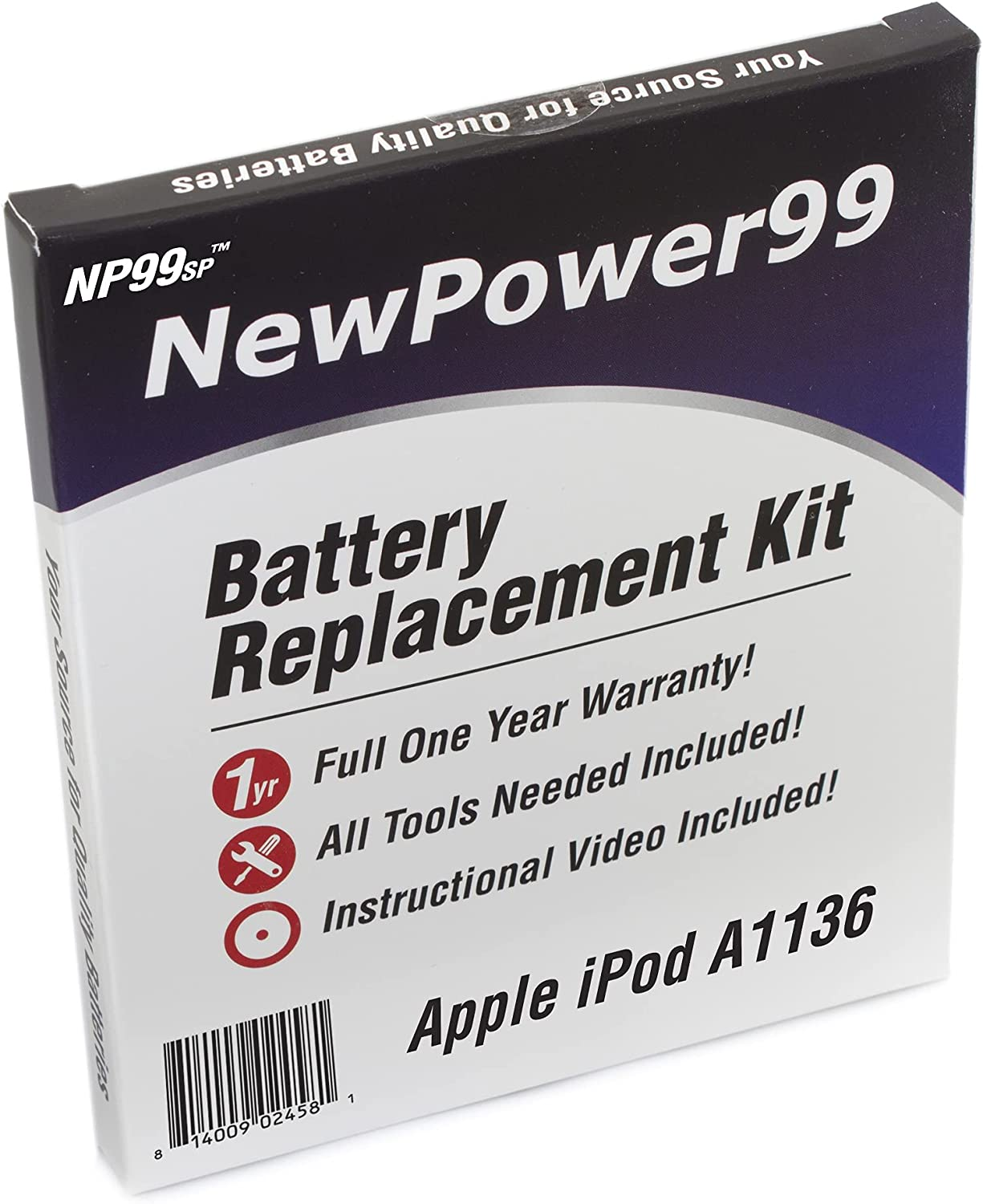 Battery Kit for iPod Video A1136 with Tools, How-to Video, and Extended Life Battery from NewPower99