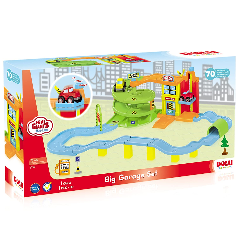 Dolu Gro/ße Parkgarage mit drehbarem Aufzug inklusive 2 Fahrzeuge 70-teilig ab 18 Monaten /• Parkhaus Spielstrasse Spielautos Spielzeug Autorennbahn Auto