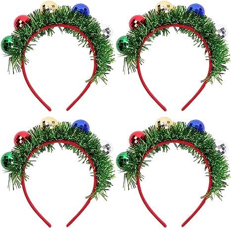 Joyibay 4PCS Diadema de Navidad Bola Decorativa Tinsel Disfraz ...