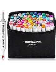 60 Set Color Alcohol Art Dual Tip Sketch Pen Art Sketch Twin Tip Marker Pen Set + Pencil Bag (General Design 60-White)