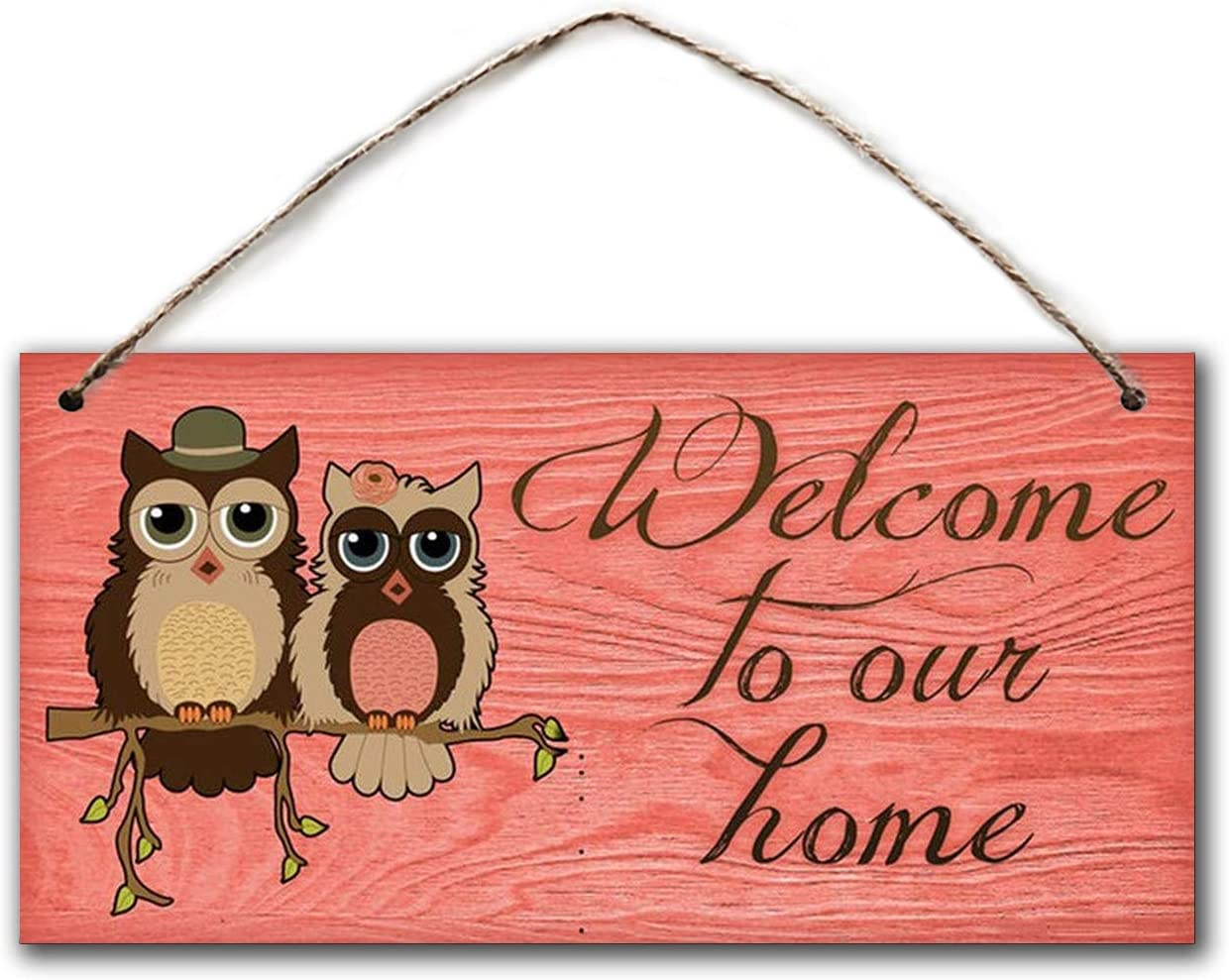 """BESTWD Welcome to Our Home Sign, Rustic Decor, Owls and Distressed Wood, 5"""" x 10"""" Sign, Plaque, Housewarming Gift"""