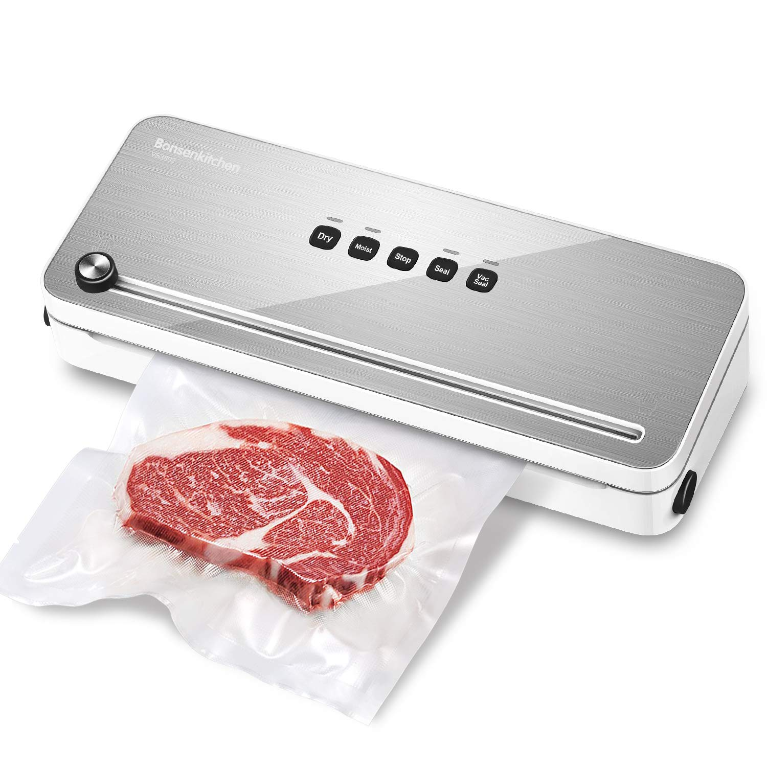 Bonsenkitchen Food Vacuum Sealer Machine for Dry and Moist Food Saver (White) by Bonsenkitchen
