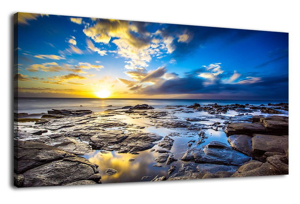 Blue Canvas Wall Art Sunset Beach Wave Large Nature Picture Painting Long Canvas Artwork Contemporary Wall Art Ocean Beach Coast Rocks Hawaii Landscape for Kitchen Office Home Decoration 20