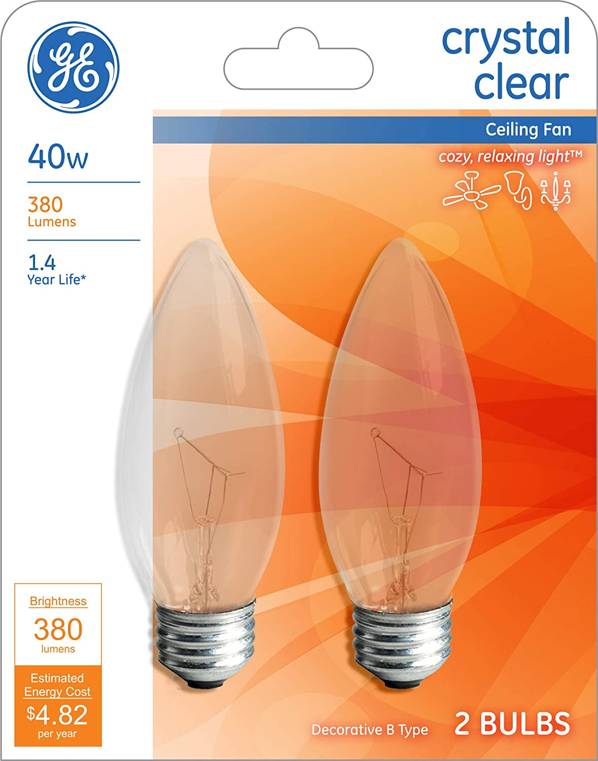 Box of 12 Count New GE Crystal Clear 40w Ceiling Fan Bulbs 380 Lumens B Type Lot