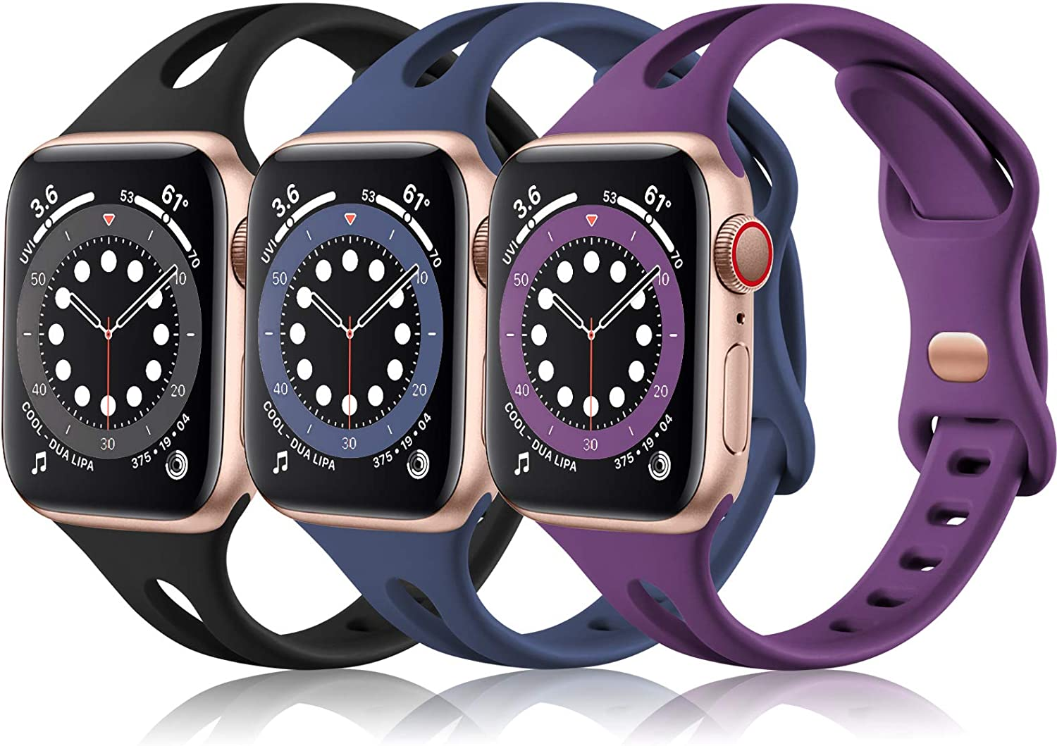 (3 Pack) Vcegari Slim Band Compatible with Apple Watch 38mm 40mm Women, Soft Silicone Replacement Wristband for iWatch Series 6 5 4 3 2 1 SE, Black/Navy/Plum