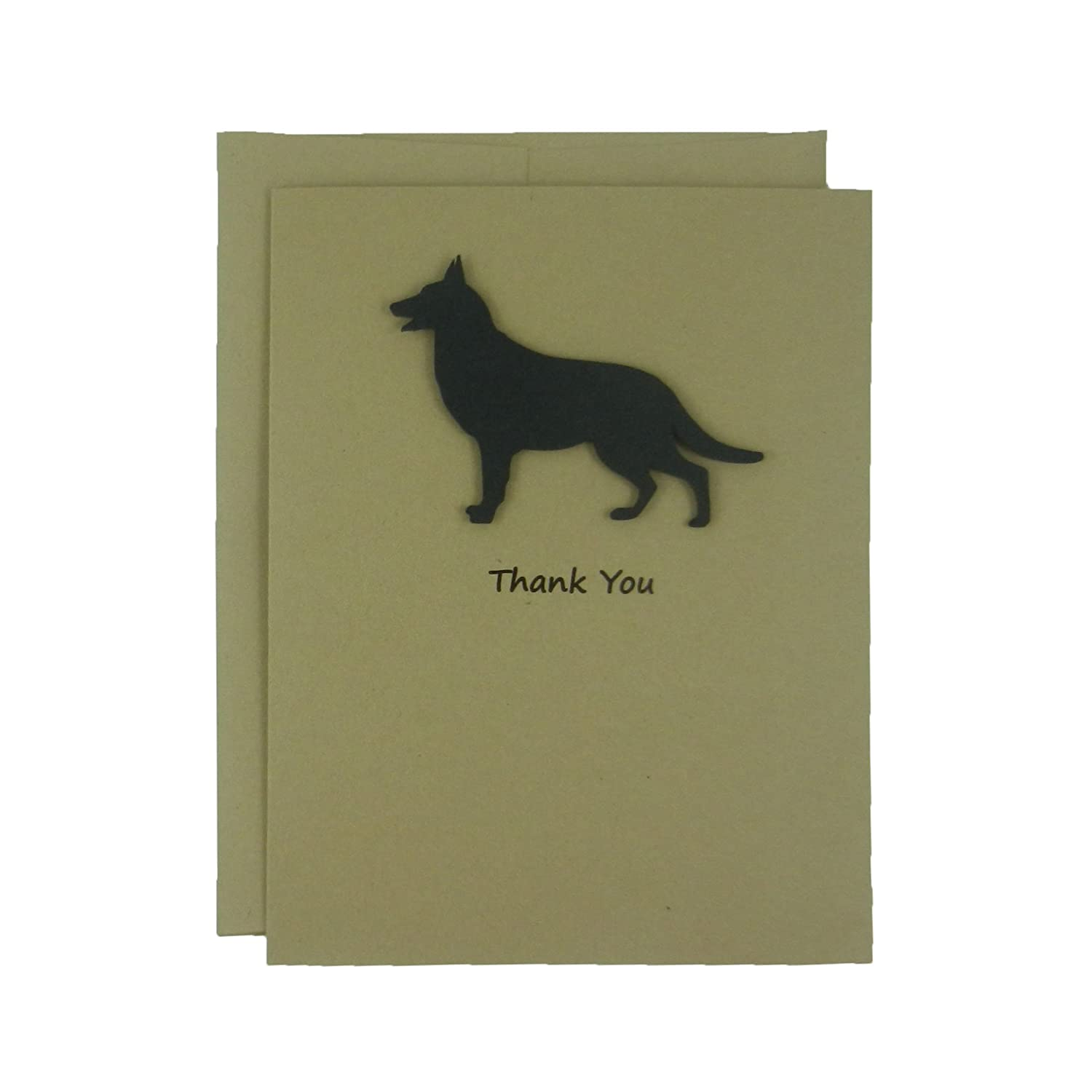 German Shepherd Thank You Cards - Handmade Black Dog Kraft Thank You Note Cards - Greeting Card 10 Pack or Single Card Pick inside