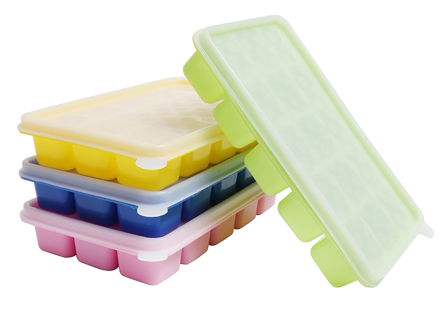 4 Pack Silicone Ice Cube Trays with Clear Lids by Kurtzy - Covered Ice Cube Tray Set with 60 Ice Cubes Molds - Flexible Silicone BPA Free Stackable No Spill Ice Cube Mold Storage Containers CT-3555