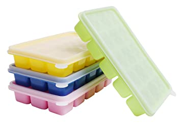 Ice Cube Trays With Clear Lids 4 Pcs Flexible Silicone Bpa Free