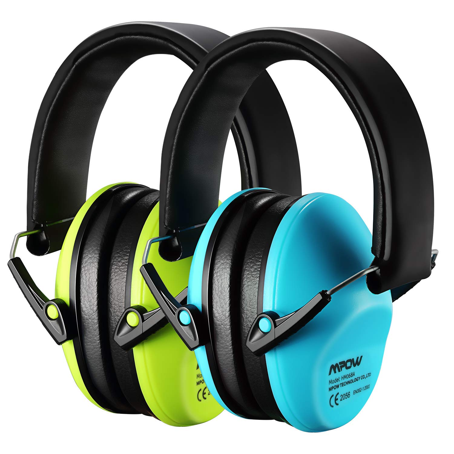Mpow Kids Ear Protection 2 Pack, NRR 25dB Noise Reduction, Hearing Protection for Kids, Toddler Ear Protection for Hunting Season, Shooting Range, Car Race, Traveling, with Carrying Bags-Blue&Green by Mpow