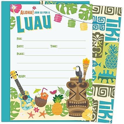 ecd6c5c0008 Amazon.com  Luau Party Invitations with Aqua Blue Envelopes for ...