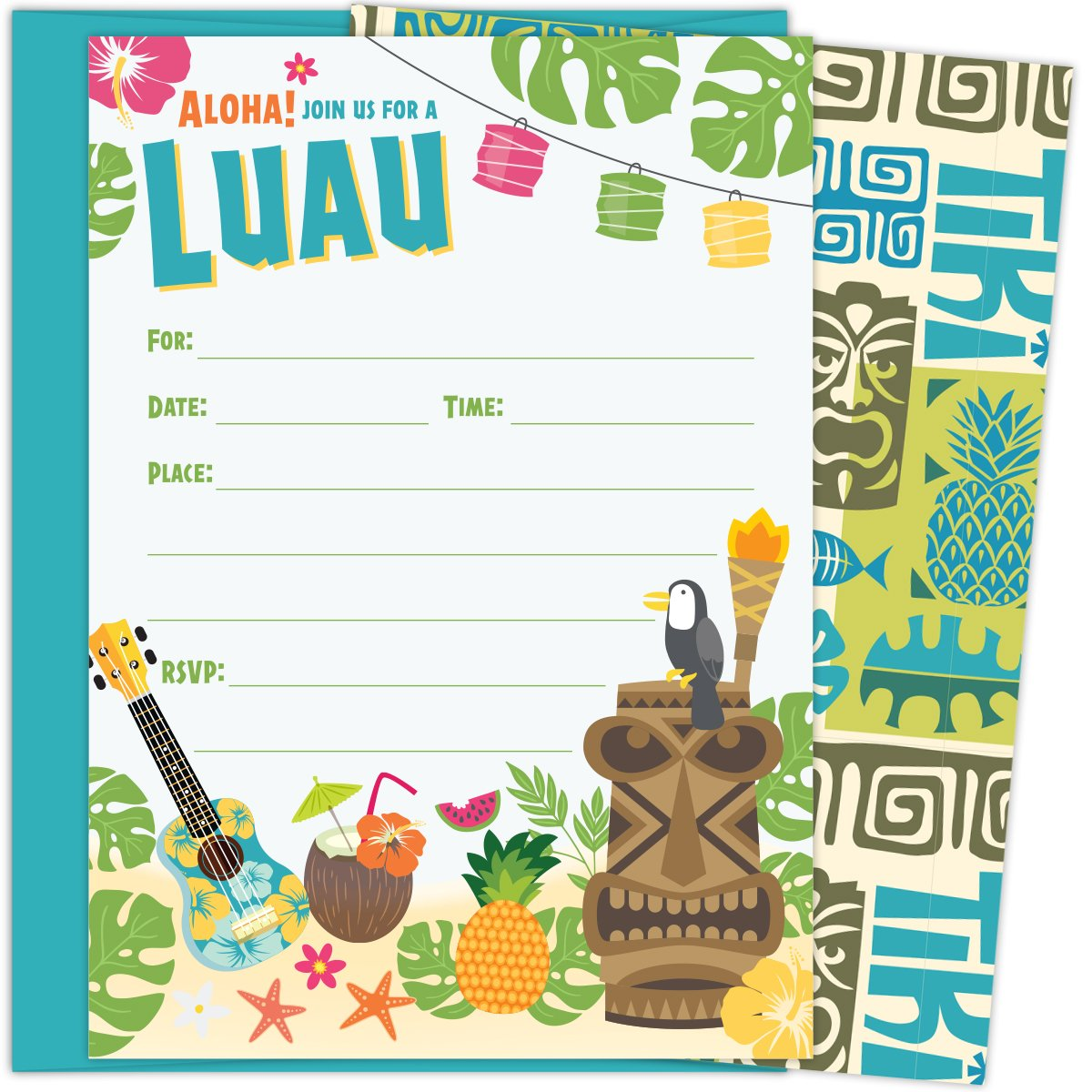 Luau Party Invitations with Aqua Blue Envelopes for Birthdays, Bridal Showers, Baby Showers, Summer Parties, Rehearsal Dinners and Bachelorette Parties. Set of 25 Fill-in invitations and Envelopes by Koko Paper Co